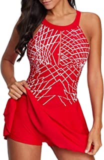 5745e329ad Aleumdr Womens Color Block Printed Tankini Swimdress with Boyshort Swimsuits