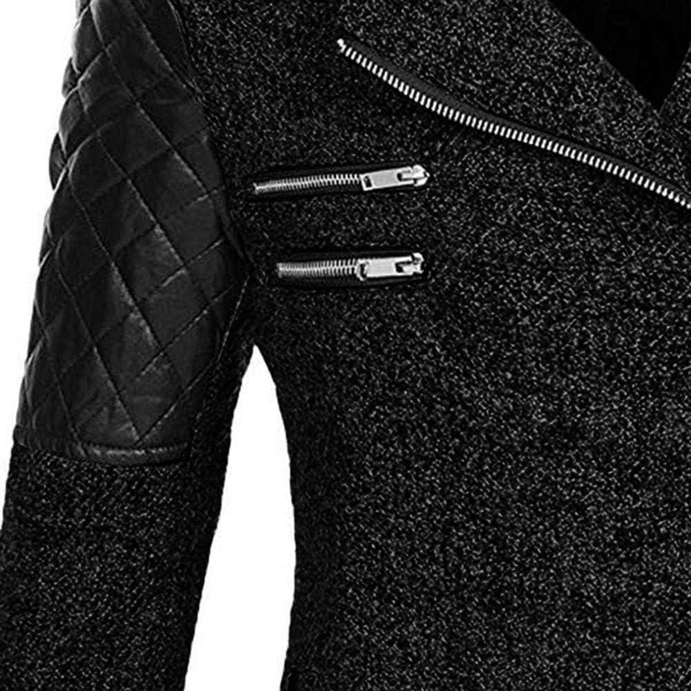 TTWOMEN Jacke Mantel Damen Langarm Reißverschluss Sweatshirt Übergangsjacke Steppjacke Kapuzenjacke Tasche Zip Hoodie Pullover Stickoberteil Wollmantel Outwear Coats Schwarz