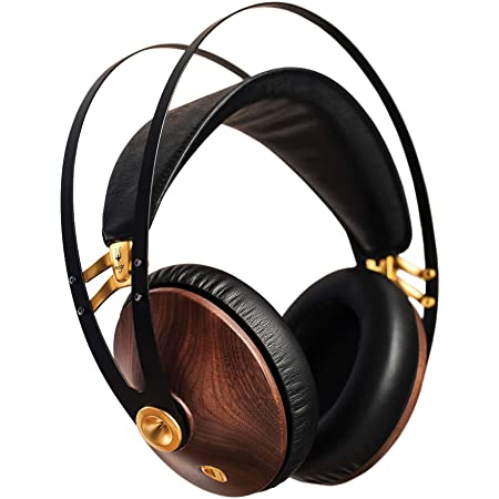 Meze 99 Classics Walnut Gold | Wired Over-Ear Headphones with Mic and Self Adjustable Headband | Classic Wooden Closed-Back Headset for Audiophiles