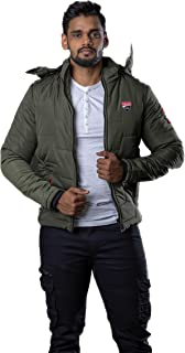 Gazelle & Stag Cotton Winter Warm Jacket with Detachable Hood Pocket & Zip closure (Color: Forest Green,Size: XL)