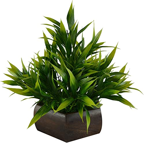 Fancy Mart Plastic & Wood Artificial Bamboo Leaves Plant with Wood Hexagon Pot (20 cm, Green)