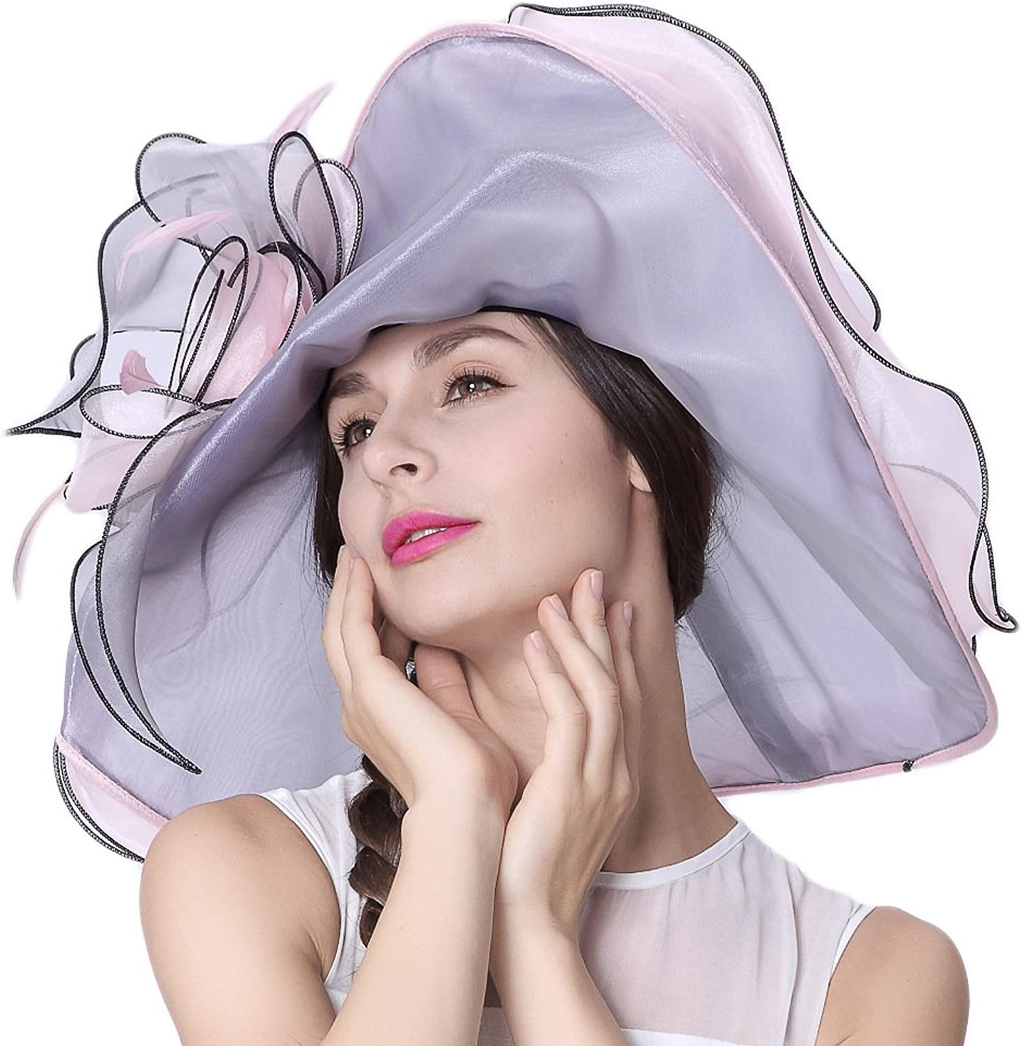 June's Young Women Hats 100% Organza Wide Brim Sun Summer Hats