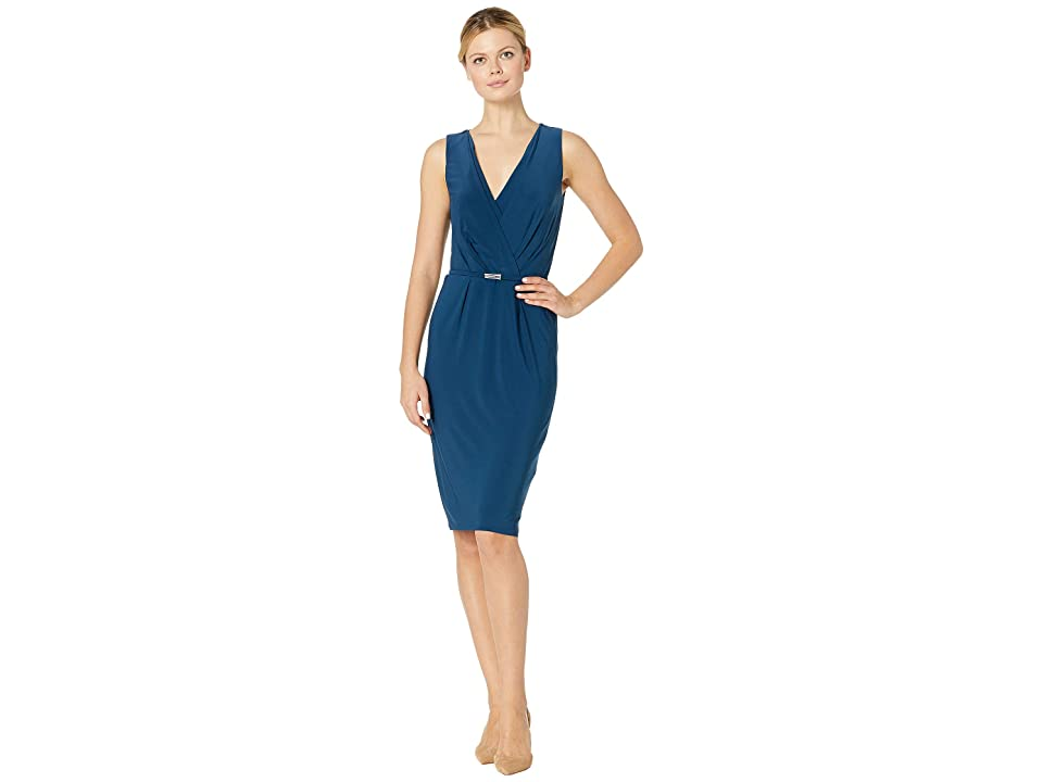 LAUREN Ralph Lauren Matte Jersey Lazia Sleeveless Day Dress (Luxe Beryl) Women