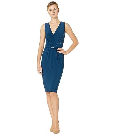 LAUREN Ralph Lauren Matte Jersey Lazia Sleeveless Day Dress (Luxe Beryl) Women