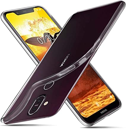 DN-Technology Nokia 8.1 Case, TPU Rubber Gel Shock-Absorption Bumper Anti-Scratch Transparent Silicone Cover for Nokia 8.1 (Clear)