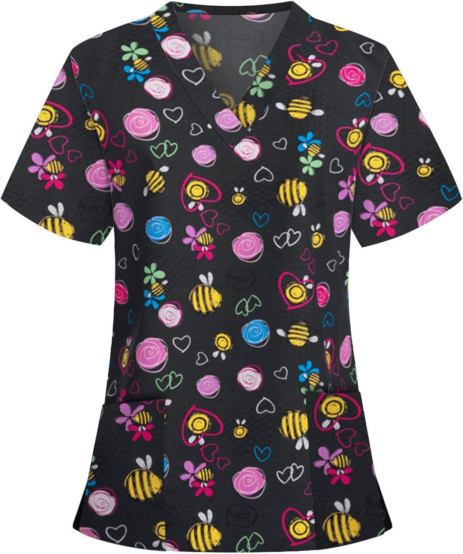 Women's Print Scrub_Top Working Uniform Short Sleeve V-Neck T-Shirts Casual Nurses_Tunic Workwear Tops