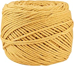 BENECREAT 3mm x 220 Yards(656 ft) Macrame Cord 100% Natural Cotton Rope 4-Strand Twisted Cotton Cord for Handmade Plant Hanger Wall Hanging Craft Making, Gold