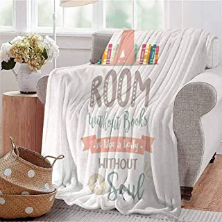 KFUTMD Throw Blanket Book Shelf Illustration with A Room Without Books is Body Without Soul Quote Print Multicolor Bed Sleeping Travel Pets Reading W57 xL74