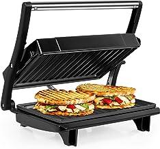 OZAVO Appareil à Sandwich Presses à Panini & Toast, Grill Electrique, Surface de cuisson 22,5 x 14,5 cm, 750 W, Plancha de...