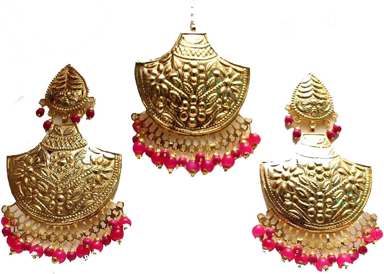 Gold Jadau Dark Pink Earrings Bridal Punjabi Indian Wedding Earrings Tikka Muslim Jewelry Set