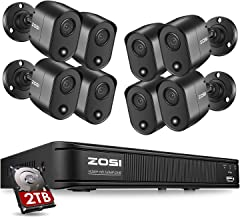 ZOSI 5MP 8 Channel Security Camera System for Home, H.265+ CCTV DVR with Hard Drive 2TB and 8 x 5MP Surveillance Bullet Ca...