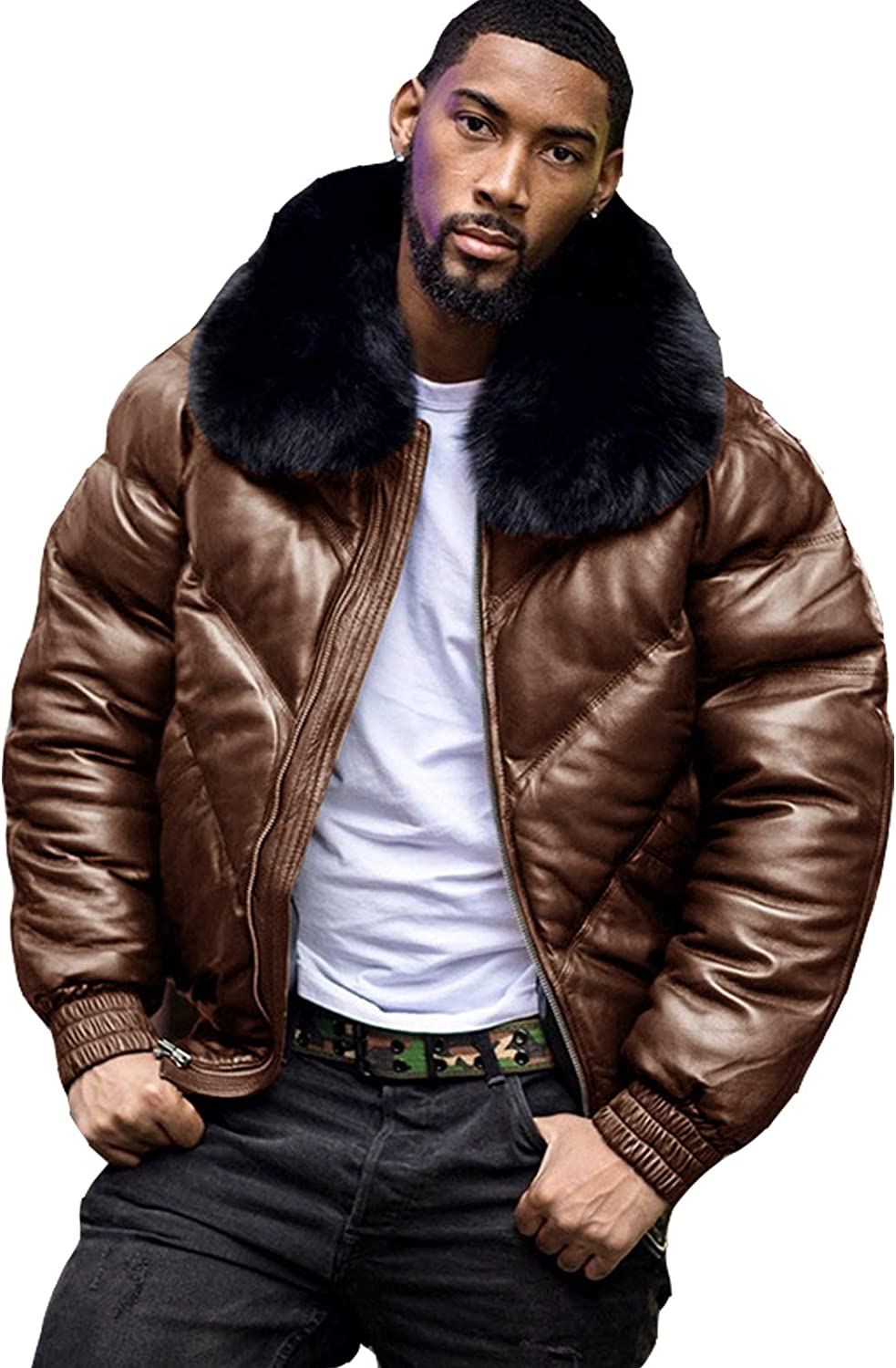Men's Faux Leather Bomber Jacket Fleece Lined Warm Faux Fur Collar Winter Quilted Coat