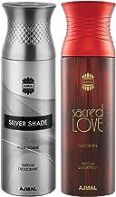 Ajmal Silver Shade & Sacred love Deodorant Spray For Men & Women 200ml each (Pack of 2, 400ml) + 2 Parfum Testers Free