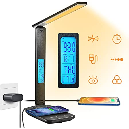 Lampe de Bureau LED Blsyetec Lampe Bureau avec 10W Chargeur Sans Fil et USB Lampes de Bureau Réglable Flexible Contrôle Tactile Lampe LED Bureau avec Affichage LCD (heure, alarme et température)