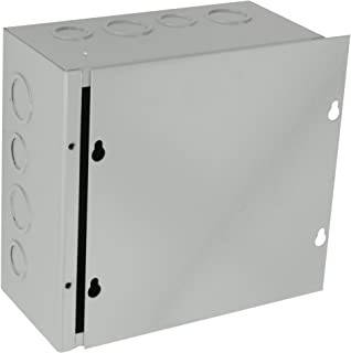BUD Industries JB-3957-KO Steel NEMA 1 Sheet Metal Junction Box with Knockout and Lift-Off Screw Cover, 8