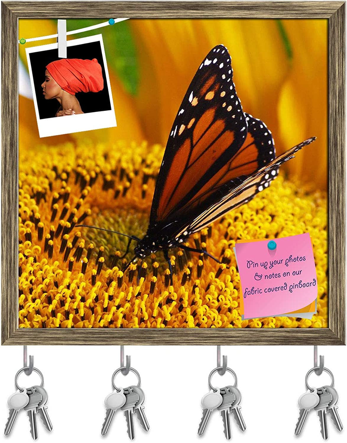 Artzfolio Monarch Butterfly Sitting On Yellow Sunflower Key Holder Hooks   Notice Pin Board   Antique golden Frame 20 X 20Inch