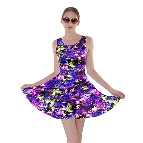 ffc3fcdc6831 CowCow Womens Christmas Xmas Lights Winter Colorful Watercolor Gem Pattern Skater  Dress XS-5XL
