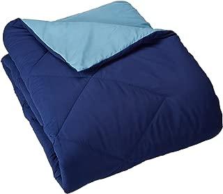 AmazonBasics Reversible Microfiber Comforter Blanket - King, Navy Blue