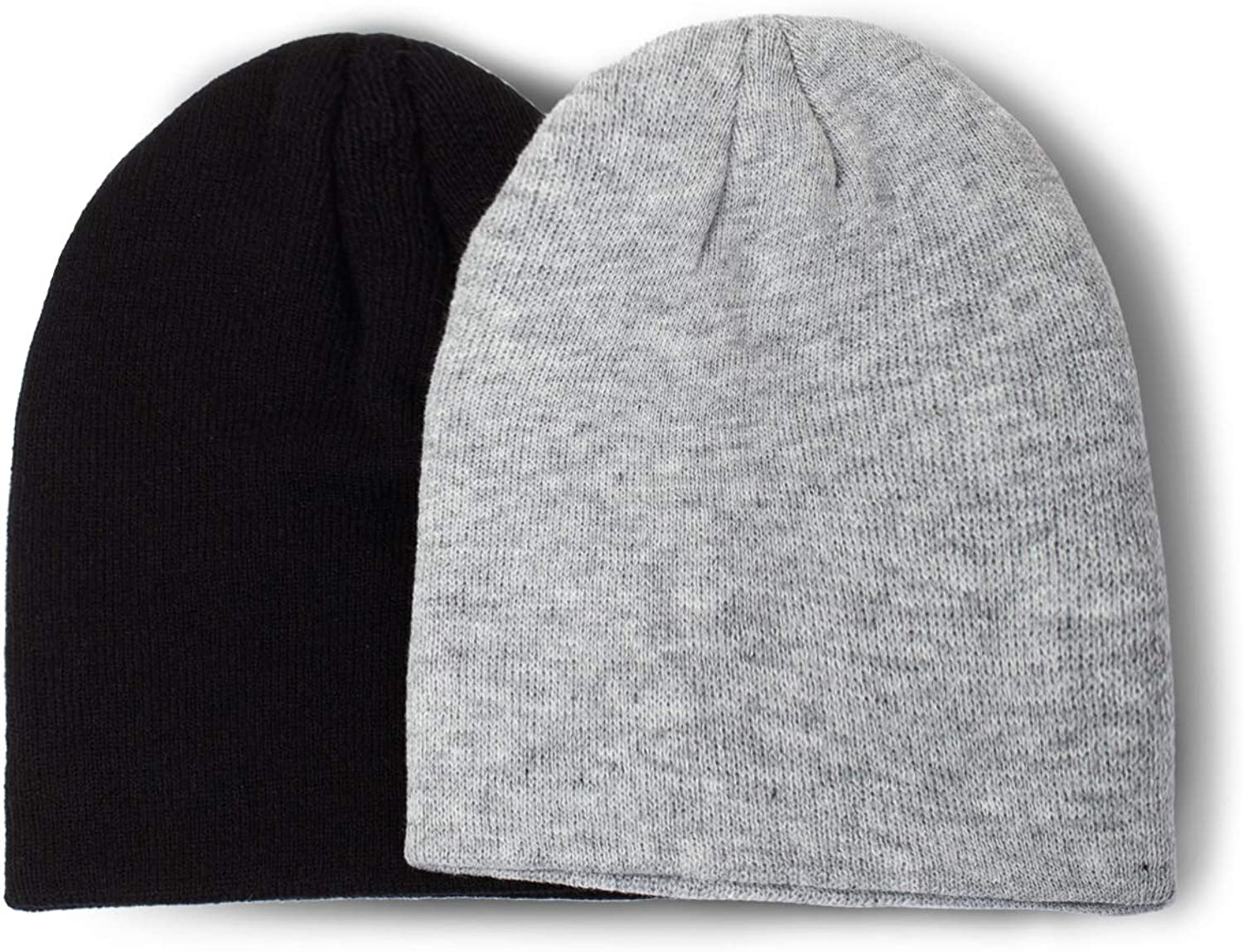 MixMatchy Womens 2-Pack Casual Winter Acrylic Knit Beanie for Men and Women