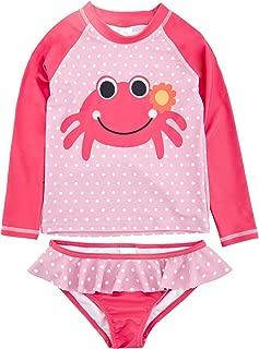 kavkas Baby Girl and Boy Swimsuit One Piece Short Long Sleeve Rash Guard Ruffle Swimwear(12M-8T)