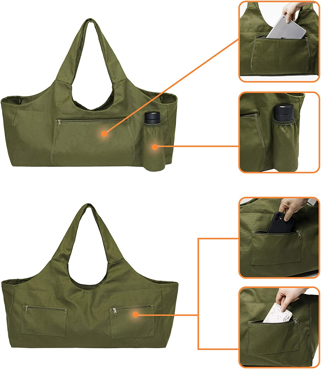 MillyShine Yoga Mat Bag Carrier with Pockets Yoga Bag Large Strap Carrier Gym Bags for Women Yoga Accessories Bolster