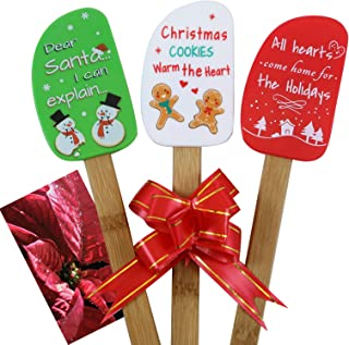 3 Piece Christmas Silicone Spatula Gift Set with lovely bow and gift card. Easy clean, durable, high temperature and stain resistant. Bamboo handles. Great for Christmas decorating, gifts and baking.