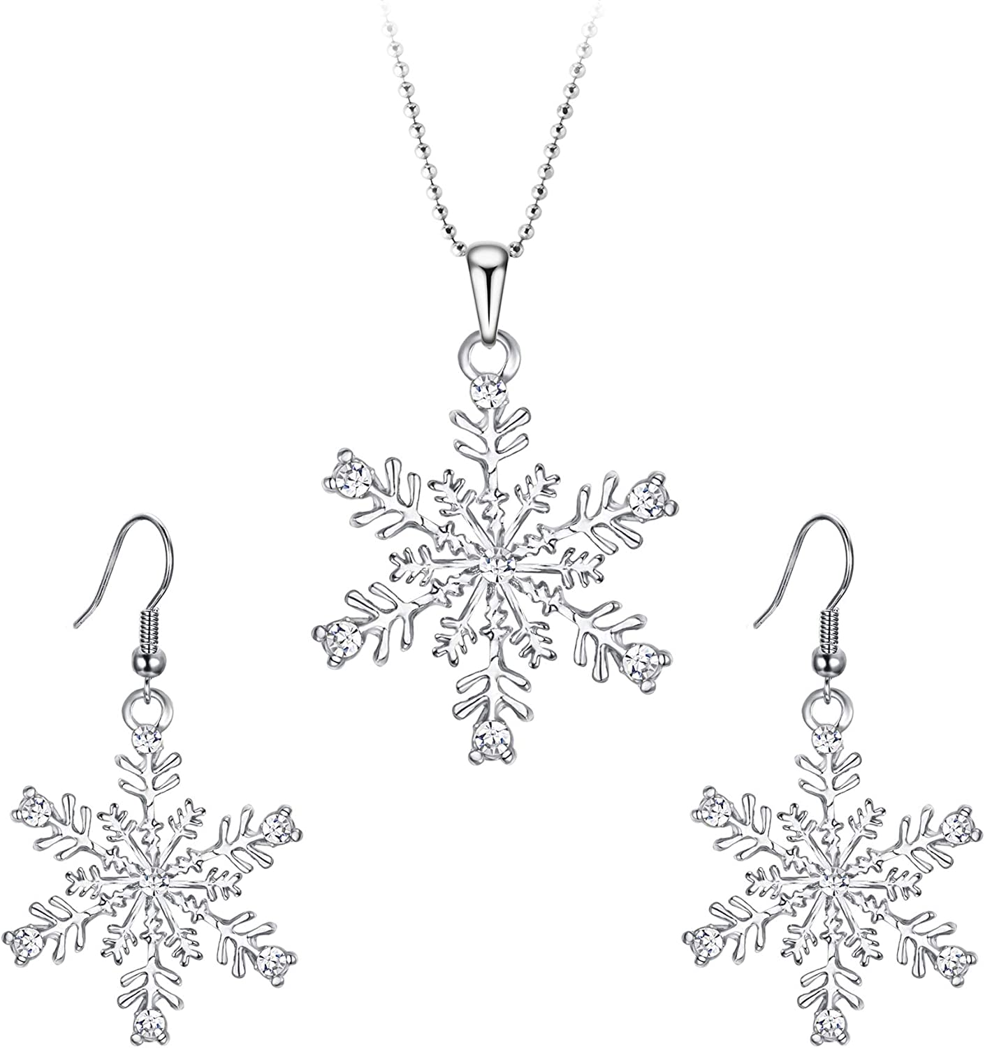 Christmas White Simulated Pearl Holiday Party Snowflake Pendant Necklace Earring Jewelry Set for Women Leverback Silver Plated