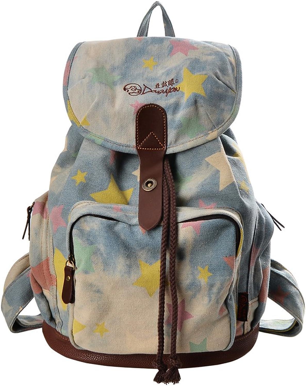 DGY Women's Canvas Backpack for College School Bag Daypack for Girls Travel Backpacks G00117 Little Star