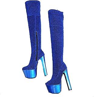 Stivali alti da donna sopra il ginocchio Stivali alti con tacco alto 17 cm Stivali con plateau a punta tonda Cerniera Autu...