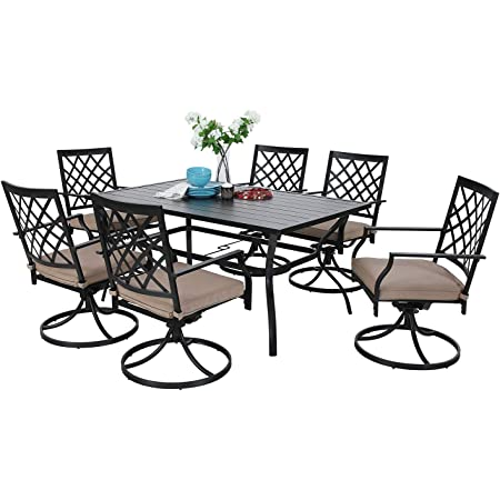 4 x C Spring Motion Chairs Furniture Set,1 Square 37x 37 Metal Umbrella Table for Outdoor Lawn Garden Pool Metal Frame Easy to Care Weather Resistant Sophia /& William Patio Dining Set
