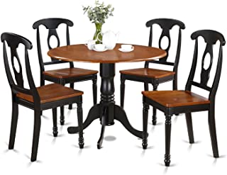 East West Furniture 5-Piece Kitchen Table Set, Black/Cherry Finish