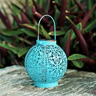 ExcMark Outdoor Solar Hanging Lantern Lights Metal Led Decorative Lamp for Garden Patio Courtyard Lawn and Tabletop with Hollowed-Out Design. (Blue)