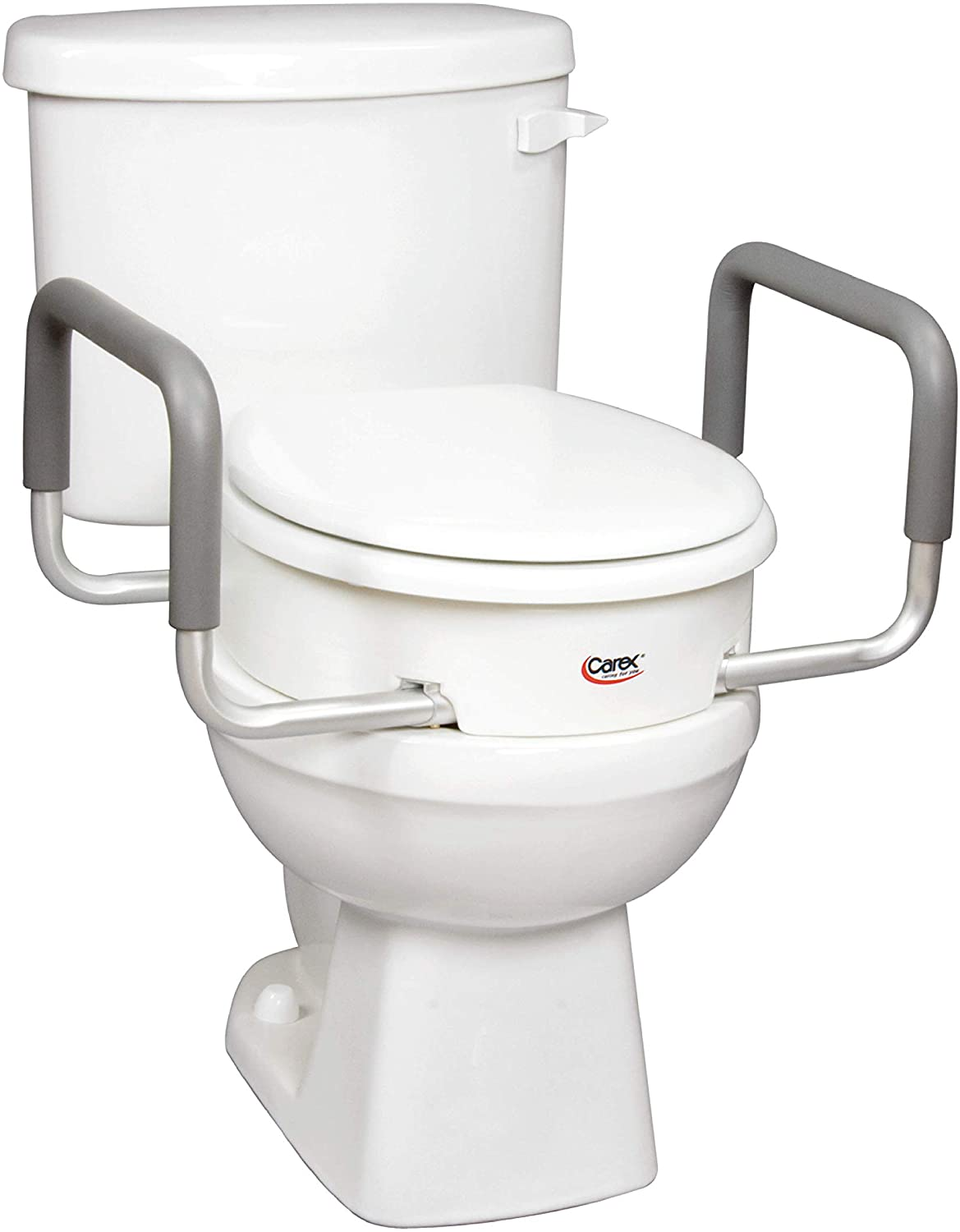 Carex Health Brands 3.5 Inch Raised Toilet Seat with Arms