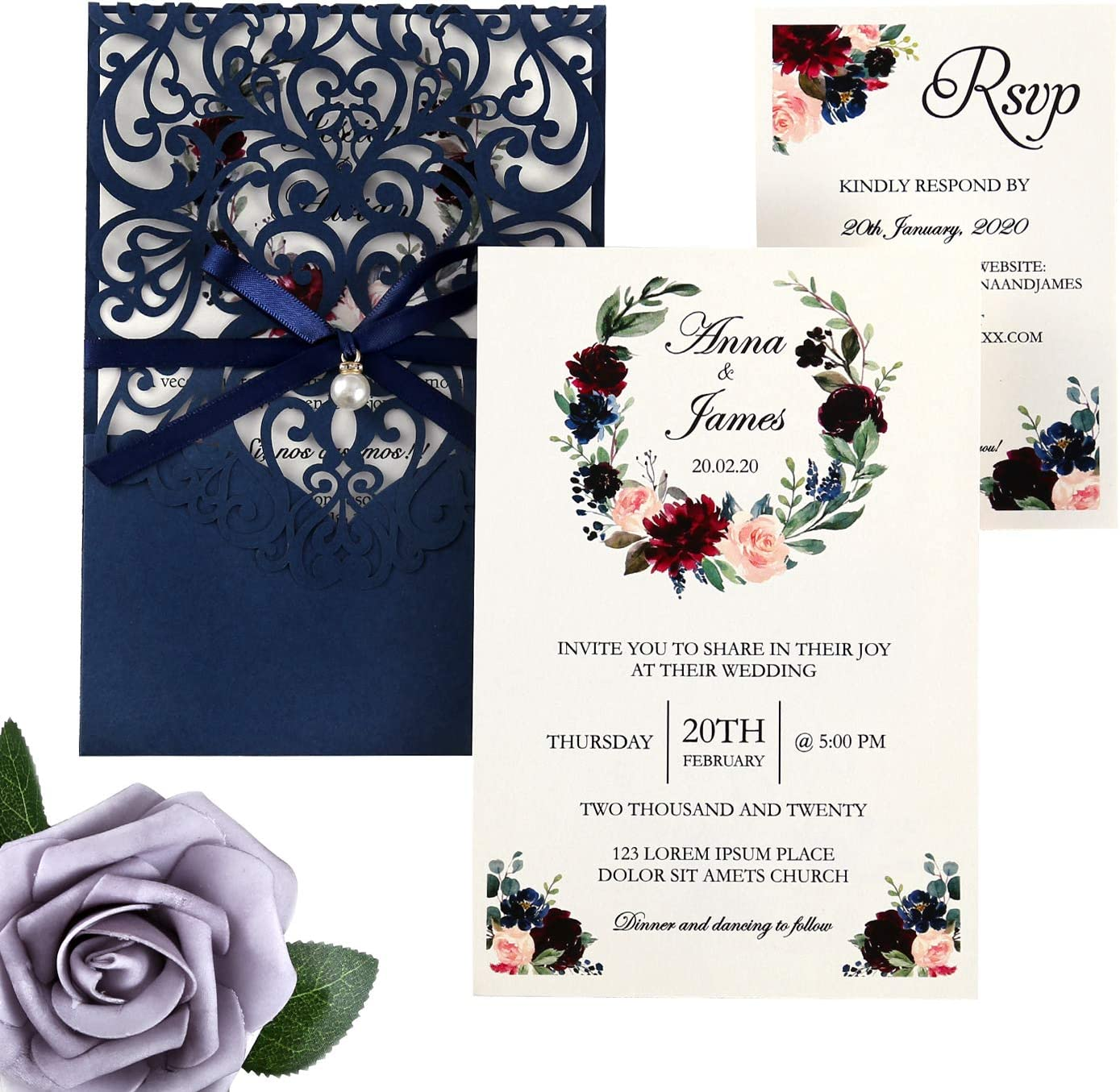 DreamBuilt 5X7.2 Inch 50PCS Blank Laser Cut Navy Blue Wedding Invitations With Rsvp Cards And Envelopes And Ribbon Belly Band Pearl Embellishments Wedding Invitation Cards For Wedding Invite