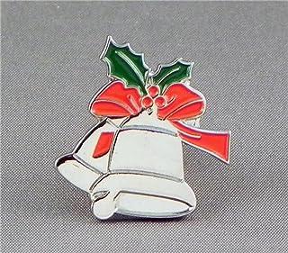 Spilla in metallo smaltato a forma di campane natalizie con agrifoglio