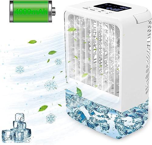 Refroidisseur d'air Portable Climatiseur Mobile USB,EEIEER 4000mAh 4 en 1 Climatiseur Portable Ventilateur Air Humidi...