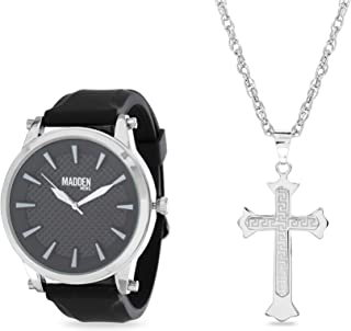 Silver-Tone and Black Band Watch with Cross Pendant...