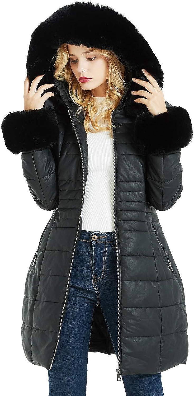 Geschallino Women's Fleece Line Coats with Faux Fur Hood Warm Winter Down Parka with Pockets