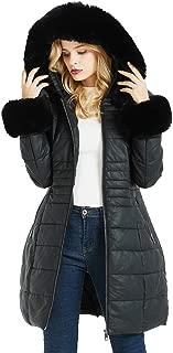 Geschallino Women's Faux Leather Suede Long Coat, Fleece-Lined Quilted Jacket