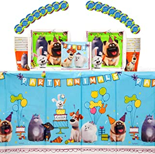The Secret Life Of Pets 2Birthday Party Supplies Pack for 16 Guests | Paper Cups, Paper Dessert Plates, Paper Beverage Napkins, Stickers, and Plastic Table Cover | Kid's Birthday Party Supplies