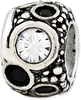 925 Sterling Silver Charm For Bracelet Black White Swarovski Elements Bead Stone Crystal Fine Jewelry Gifts For Women For Her