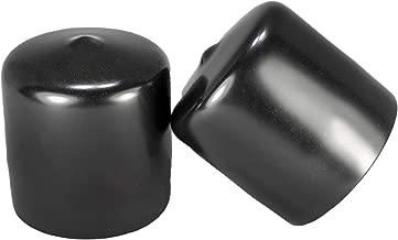 Prescott Plastics 1 1/2 Inch Round Black Vinyl (Tall) End Cap, Flexible Pipe Post Rubber Cover (2)