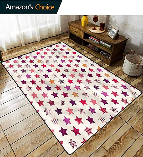 TableCoversHome Modern Music Area Rug Kilim Colorful Stars Ornaments Pattern Printing Door Mat Durable Rugs Living Dinning Office Rooms Bedrrom Hallway Carpet 3 X 5
