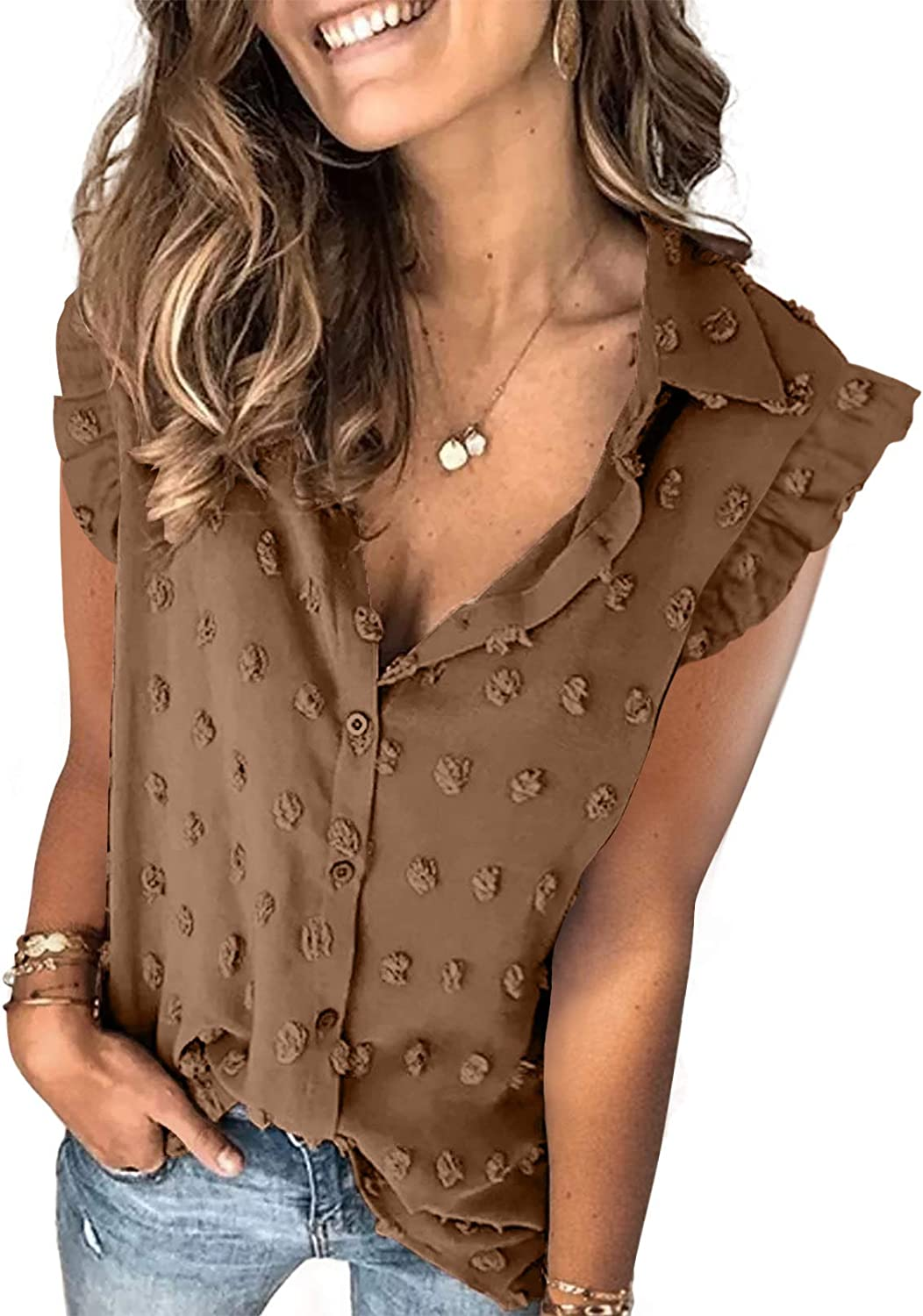 Astylish Womens Pompom Button Down Shirt Casual Blouse Tops