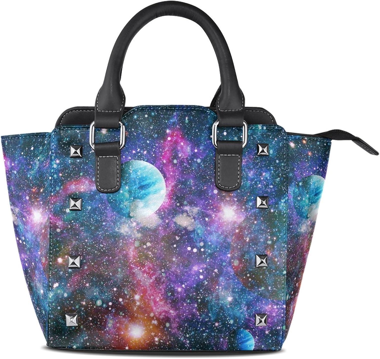 My Little Nest Women's Top Handle Satchel Handbag Outer Space Universe Planets Stars Ladies PU Leather Shoulder Bag Crossbody Bag