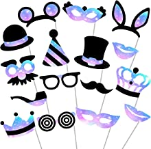 Party Photo Booth Props - (No Glitter) Beautiful and Vibrant Photobooth Props and Masks for Weddings, Birthday Parties, Dance Parties and More (16 Count)