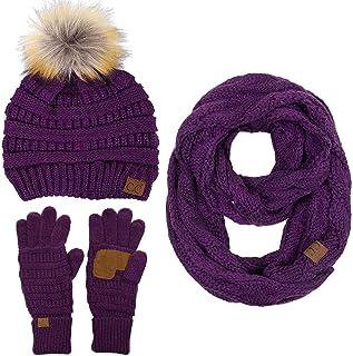 ScarvesMe 3pc Set Trendy Warm Chunky Soft Stretch Cable Knit Pom Pom Beanie, Scarves and Gloves Set