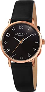 Akribos Petite Round Domed Women's Watch - 28mm Case with Domed Crystal - Oily Calf Leather Strap - AK1087