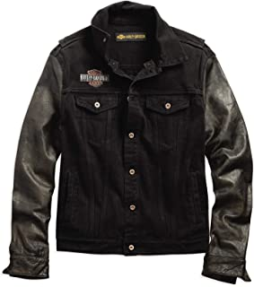 Men's Leather Sleeve Slim Fit Denim Jacket, Black