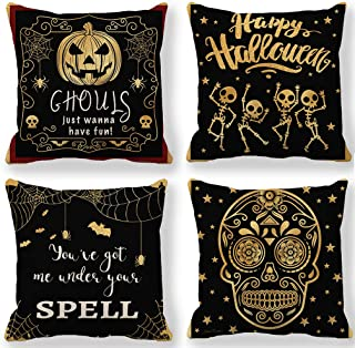 Black Halloween Decor Pillow Covers Happy Halloween Pillow Cases with Gold Pumpkin/Skull/Bat/Spider Home Decorative Pillow Cushion Covers 18 x 18 Inches,Set of 4 for Couch/Sofa/Porch/Patio